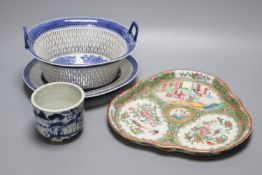 An 18th century Chinese export blue and white basket (cracked) and stand and a Cantonese