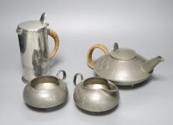 A Liberty's Tudric four piece pewter tea set, shape no.0231 - the jug shape no.0281, 19cm