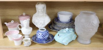 A quantity of mixed ceramics and glass including two Victorian parian portrait busts, Shelly part