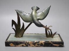 Limousin. An Art Deco bronze kingfisher, on marble plinth, width 30cm