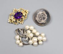 A Victorian style 9ct. gold, amethyst and diamond chip brooch, gross 6.8 grams, a silver and