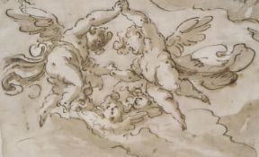 18th century Venetian School, ink and wash, Amorini in clouds, 13 x 20cm