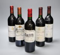 Two bottles of Chateau-Lascombes, Margaux, 1986, one Giscours, 1994, one Rausan-Segla, 1992 & one