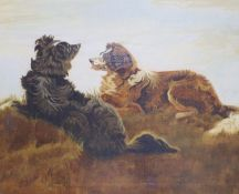 Victorian School, oil on canvas, Study of two collies in a landscape, 27 x 32cm