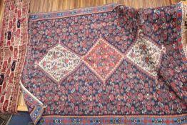 A Senneh Kelim rug, 150 x 114cm and seven rug fragments