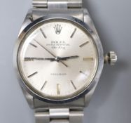 A gentleman's early 1960's stainless steel Rolex Oyster Perpetual Air-King Precision wrist watch,