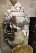 A Venetian engraved octagonal wall mirror, 74 x 130cm
