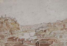 English School c.1840, watercolour, From the Tarpian Rock, Rome, inscribed, Agnews label verso, 17 x