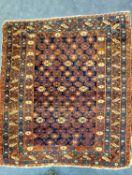 A Caucasian Kuba blue ground rug, 130 x 120cm