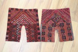 Two Palestine cross tapestry shirt fronts, 33 x 13cm