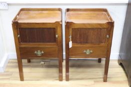 A pair of George III mahogany tray top commodes, width 50cm, depth 41cm, height 78cm