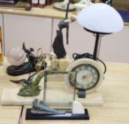 An Art Deco style female figure, 14cm, a lamp, a clock and a frame