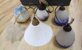 A pair of French Degue cased glass light shades, 17cm and four other various glass light shades
