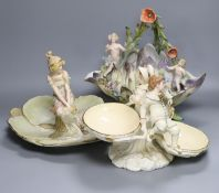 A Victorian Royal Worcester figural centrepiece, 20cm high, restored, an Austrian serving dish