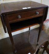 A drop flap table, width 52cm depth 41cm height 71cm