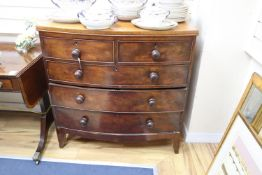 A Victorian mahogany five drawer bow front chest, width 100cm, depth 50cm, height 102cm