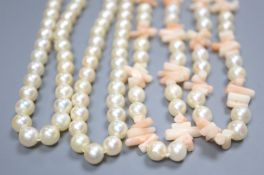 A single strand cultured pearl necklace, 127cm and a coral fragment and cultured pearl necklace,