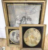 A Regency silkwork panel of St Francis, 27 x 22cm and two eglomise framed prints