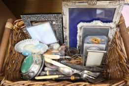 A quantity of plated and other frames, antler, horn carving knives, shakers, Meerschaum pipe etc
