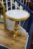 A Victorian giltwood occasional table with later marble top, 55cm diameter, 82cm high