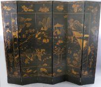 A 19th century Chinese gilt black six fold screen, each panel 45cm, 237cm high
