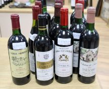 Fifteen assorted bottles of mainly Bordeaux red wines, to include, 2 x Chateau de Francs, 1986, 2