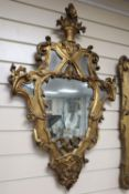 A pair of Italian rococo style carved giltwood wall mirrors, width 56cm, height 88cm