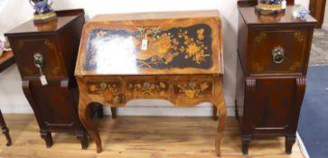 A pair of Regency brass inlaid mahogany pedestal cabinets, width 40cm, depth 46cm, height 99cm