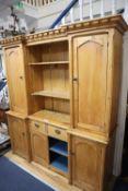 A Victorian pine inverse breakfront dresser, width 170cm, depth 50cm, height 196cm