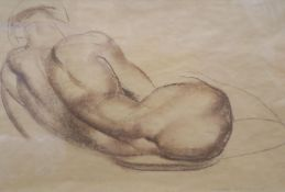 John Skeaping (1901-1980), brown chalk on buff paper, Reclining nude, signed and dated Rome /26,