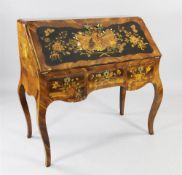 A German rococo marquetry bureau de dame, c.1765, in the manner of the Spindle Brothers, the fall