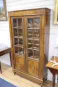 A 19th century French marquetry inlaid rosewood vitrine, width 100cm, depth 32cm, height 184cm