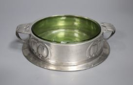 A Liberty's Tudric pewter and green glass butter dish, shape no.0163, diameter 16cm