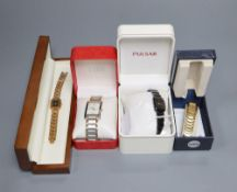A collection of vintage and fashion ladies' wristwatches, including Sekonda, Pulsar, Black Hills