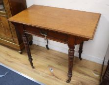 A late Victorian aesthetic movement walnut side table, width 91cm, depth 52cm, height 75cm