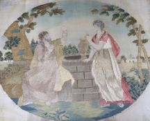 A Regency silkwork panel 'At the well'