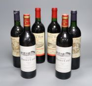 Two bottles of Chateau Cure Bon La Madeleine, 1983, two Chateau Cadet-Piola, 1986 and two bottles of