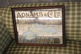 An Adnams & Co. Limited brewery advertising wall mirror 67 x 52cm.