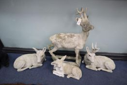 Four reconstituted stone deer garden ornaments, largest 88cm high