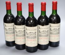 Five bottles of Chateau Lyonnat, Lussac Saint Emilion, 1985.