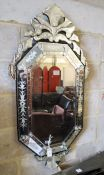 A Venetian octagonal wall mirror, width 60cm, height 120cm