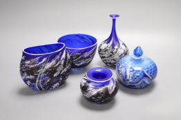 A group of five modern blue glass vases, Andres for Stone Series, tallest 17cm and a Langley