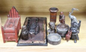 A group of 19th century Chinese wood carvings etc