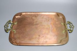 A WMF rectangular copper tray with stylised brass handles, 38 x 33cm