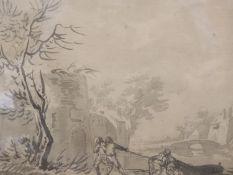 Old Master, monochrome watercolour, Boatmen beside a tower, 22 x 28cm