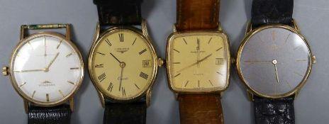 A gentleman's 18ct gold Baume & Mercier manual wind dress wrist watch, gross 31.3 grams and three