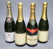 Two bottles of NV Champagne, Perrier-Jouet and Lambert & Cie and two bottles of Crement de