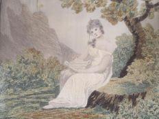 A Regency silkwork panel of a lady in a garden, width 25cm height 23cm