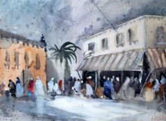 Hercules Brabazon Brabazon (1821-1906), gouache and watercolour, North African market scene,