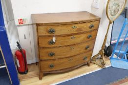 A Regency mahogany bowfront chest of four long drawers, width 101cm, depth 48cm, height 102cm